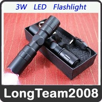 3W 1AA Police LED Flashlight Light Lamp Torch Black S859