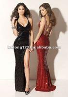 Sexy V-neck Slim Line Court train Black Red Beaded Sequins High Side Slit Backless Prom Dress