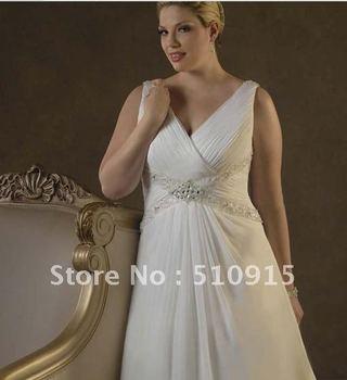 V skewed crossing the waist water bead trailing increase code fat the bride married wedding dresses
