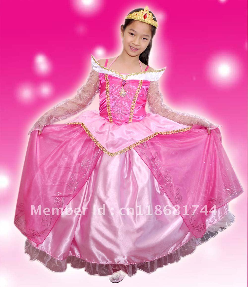 pink luxury sleeping beauty princess costume fancy dress up pink Kids Costume holliday gift party dress birthday dress up(China (Mainland))