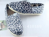 free shipping Hot women's classic  leopard grain canvas shoes ,10/pairs