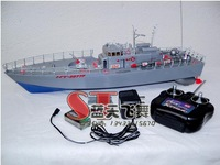 High simulation rc toy Non-toxic material Remote control boat military model Guided missile destroyer design flashing kids gift