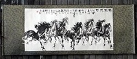 Oriental asian brush ink art chinese big horizontal scroll painting horse