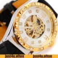 Dress Lady Womens Automatic Watches Luxury Style Golden Hollow White Crystal New IW458
