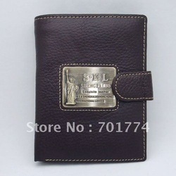 High Quality Cowhide Real Genuine Brown Leather Men&#39;s Hasp Wallet Purse Credit Bank ID Card Money Phone Book slot Wholesale(China (Mainland))