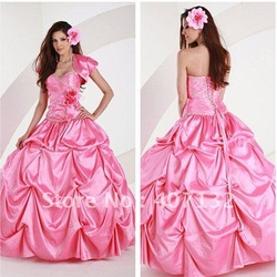Romantic Sweetheart Pink Taffeta 2012 Summer Quinceanera Dress(China (Mainland))