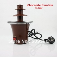 Free shipping,tainless Steel 3-Tier Chocolate Fountain fondue ,chocolate fountain machine