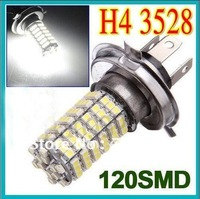 Wholesale White H4 120 LEDs SMD 1210 3528 LED Super Bright Car Fog Headlight Day Running Main Beam Light Bulb Lamp 12V Auto