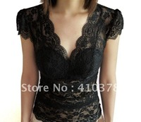 Free shipping hot sale sexy deep v-neck   Female Type harnesses vest,factory price black color lace deep v-neck women vest