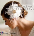 Wedding Accessories,white feather hair flower inlaid with pearl and  diamond