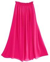 hot pink color chiffon skirt full linning A shape long chiffon skirt S2002 drop shipping support