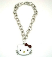 Free Shipping Trendy White& Red Paint Rhodium Plated Hello Kitty Head Charm Bracelet