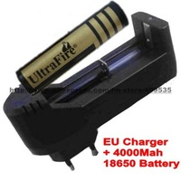 A 4000Mah 18650 battery + EU plug Battery charger for all 3.7V&3.6V AA 14500 18650 16340 CR123A Rechargeable battery