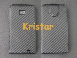For Samsung Galaxy S2 i9100 Carbon Fiber Flip Leather Case, Free Shipping(China (Mainland))