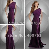 Cheap A-line Empire Key Hole Shoulder Chiffon Floor Length Purple Prom Gown