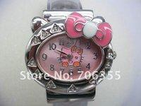 10PCS/Lot New Lovely Hello Kitty Watch with crystal Fashion Watch Modern Watch Quartz watch Wristwatch for women watch