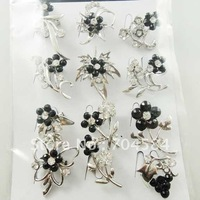 Wedding adorn brooch,Silver Alloy and Black Rhinestone,Crystal and diamond brooch wholesale Free shipping 12 design/lot