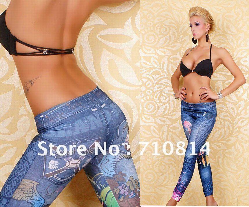 Graffiti Tattoo Print Jeans Look Skinny Tights Leggings Spande Pants