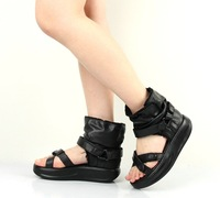 """cady-s"" 2012 new arrival first layer cow leather leisure women's sandals shoes black eur size 35-39 / free drop shipping"