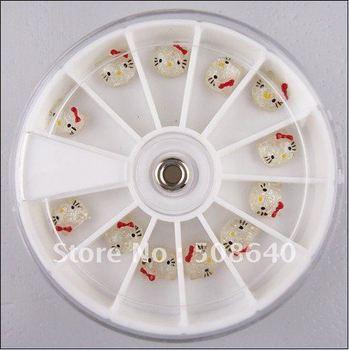3D Nail Sticker Acrylic Hello Kitty Decoration Stone For Nails Beauty Desgin 12pcs/box Accessories Wholesale 152