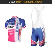Free Shipping!! MEN'S SUMMER CYCLING JERSEY+BIB SHORTS 2012 LAMPRE -TEAM-pink&blue-SZ: XS-4XL& Wholesale/Retail