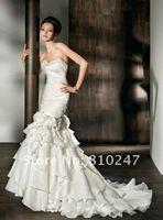 New Arrive Mermaid Chiffon and Satin Beading Flowers Decorated Detachable Wedding Dress