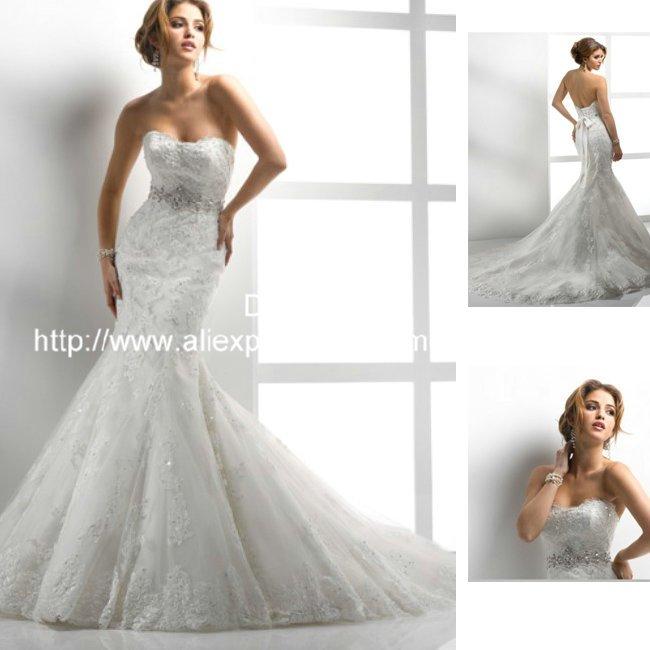 Low Back Mermaid Wedding Dress : Strapless sexy low back lace mermaid wedding dress in dresses