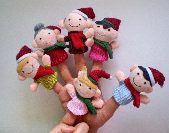 Christmas happy family Plush Finger Puppet Toy Baby Mini Finger Doll cartoon Doll stuffed plush finger toys Wholesale(China (Mainland))