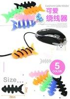 Free shipping  Fishbone design earphone winder/humming roll up,Moblie Earphone bobbin winder/cable management