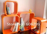 wholesale wood wall art/wood wall shelf and decorations/ 4pcs /set   hot sale orange wooder storage (color :orange )