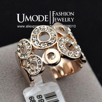 UMODE 18K Rose Gold Plated Rhinestone inlaid Circle Design Finger Ring JR0078A