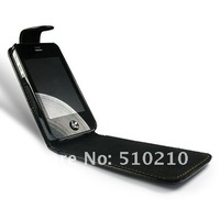 Leather Hard Back Flip Case Cover for Apple iPhone 4 4G 4S PU Black DHL Free Shipping 50P/L