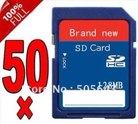 Wholesale-Brand new LOT of 50 128MB SD Flash Memory Card New 128MB+Free shipping
