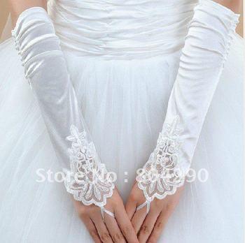 White fingerless  gloves for wedding party, embroidered bridal gloves