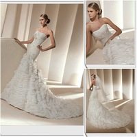OL3730 Free Shipping Custom Made Chiffon Layers Wedding Dress