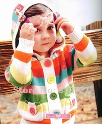 Free shipping! 6pcs/lot Baby coat baby girls colorful striped sweaters lovely kids spring coat  two colors