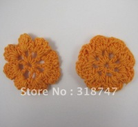 Free shipping Wholesale Handmade cotton 3.5cm orange crochet flower(12pcs/Lot)