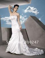 New Arrive A-line Draped Taffeta with Jacket Beading Decorated Court Train Wedding Dress