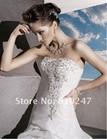 2012A+++New Arrive A-line Taffeta Jeweled Embroidery Court Train Wedding Dress