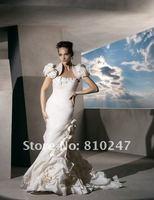 2012A+++New Arrive A-line with Jacket Taffeta Flowers and Bustles Court Train Wedding Dress