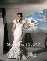 2012A+++New Arrive A-line with Jacket Taffeta Flowers and Bustles Court Train Wedding Dress