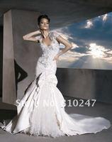 2013A+++New Arrive A-line with Jacket Emboridery Taffeta Court Train Wedding Dress