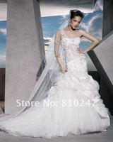 2013A+++New Arrive Sweetheart Beading Sheath One Shoulder Chiffon and Satin Wedding Dress