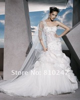 2013A+++New Arrive Sweetheart Beading Sheath One Shoulder Chiffon and Satin Wedding Dress
