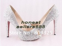 brand new women's shoes with diamond peep-toe Women's high heel pumps shoes free shipping +GIFT