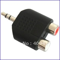 3.5mm Male To 2 RCA Female Audio Adaptor For MP3 MP4 PC 20043