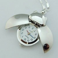 Fashion jewelry ! White steel ladybug pocket watch with chain necklace,chain watch,alloy pocket watch