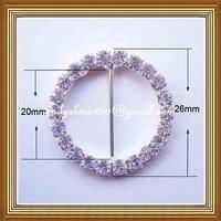 20mm inner bar round rhinestone buckle for wedding invitation