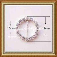 13mm inner bar round rhinestone buckle for wedding invitation card