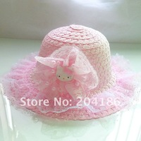 (20 Pcs/Lot)Lovely Hello Kitty Children Girl'S Summer Straw Hats